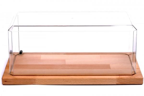 Acryl Vitrine für Diecast Modellauto mit LED Beleuchtung, Maßstab 1:18 XXL, Echtholzboden
