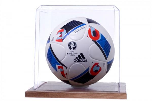 Pioneer Plastics - hochwertige Vitrine aus Acryl zum Sammeln und Verstauen eines Fußballs, Holzboden