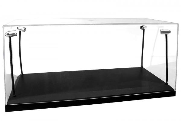 LED Vitrine für Modellautos im Maßstab 1:18, incl. Dimmkabel, Schwarze Basis, Silberne Scheinwerfer
