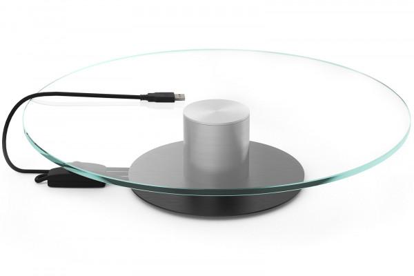 Glas-Präsentationsteller / Drehteller 30cm mit Motor schwarze Basis