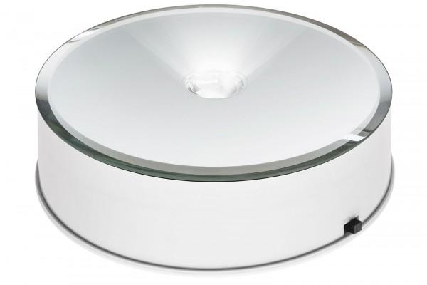 Beleuchteter spiegelnder Drehteller 14cm mit Motor und Netzteil weiß