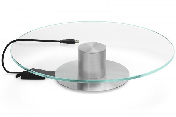Glas-Präsentationsteller / Drehteller 30cm mit Motor silberne Basis