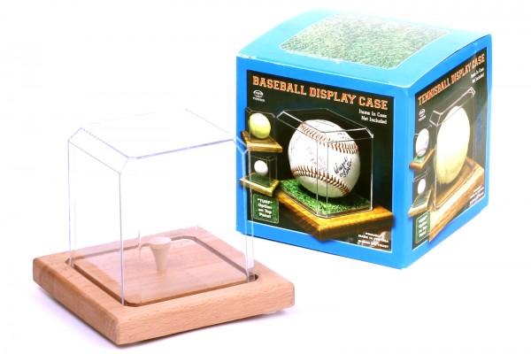 Pioneer Plastics - hochwertige Vitrine aus Acryl zum Sammeln und Verstauen eines Golfballs,Holzboden