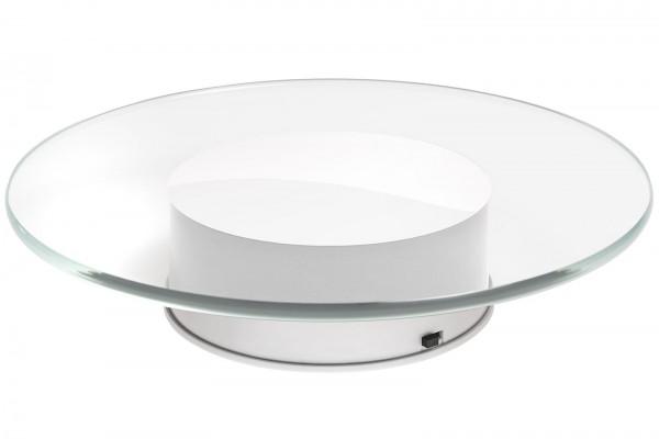Glas-Präsentationsteller / Drehteller 20cm mit Motor und Netzteil weiß