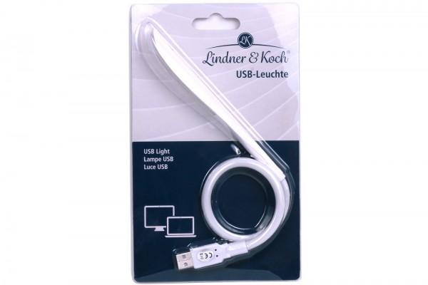 Lindner & Koch - USB Lampe für Laptop mit flexiblem Halter und superhellem LED Licht, weiß