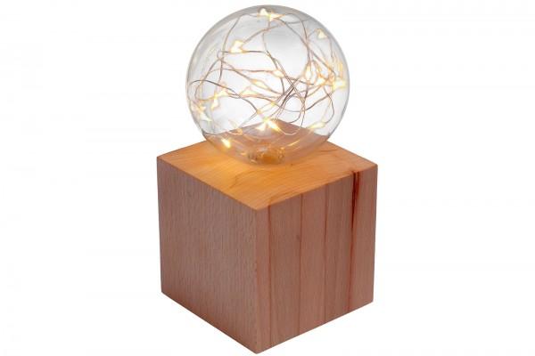Tischlicht: Holzwürfel mit beleuchteter Glaskugel 10x10x20cm