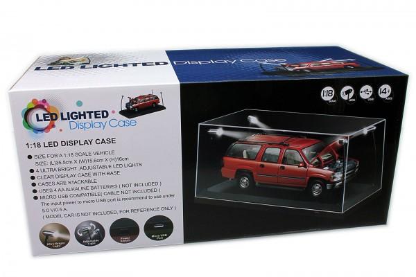 Triple9 LED Display Case / Vitrine mit LED Beleuchtung für Modellautos 1:18, schwarzer Boden