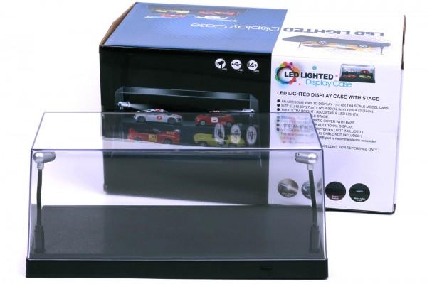 Triple9 Plexiglas Vitrine mit LED Beleuchtung für Diecast Modellautos, Maßstab 1:43, schwarze Basis