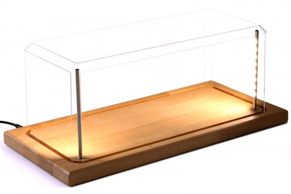 Vitrine für Modellautos mit Echtholzboden, LED Beleuchtung, Dimm-USB-Kabel, Maßstab 1:18